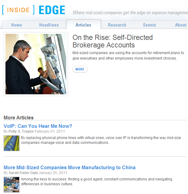 Heads and decks from Inside Edge, the website for CFOs