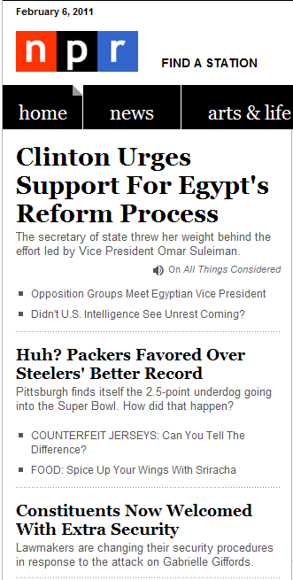 Examples of heads and decks on NPR front page