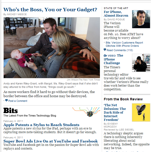 Heads and decks from New York Times Tech section