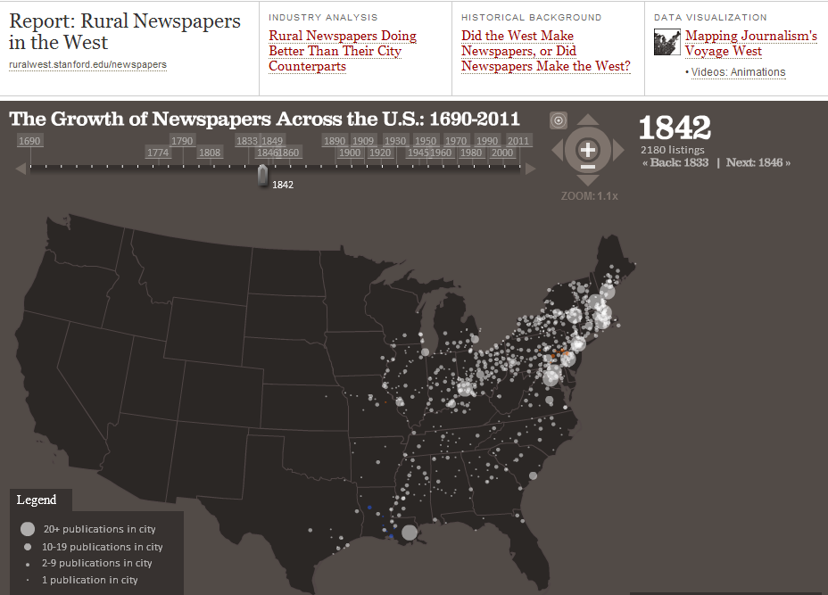 Stanford rural newspapers in the west interactive map