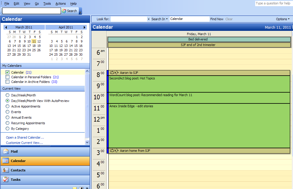 Microsoft Outlook Calendar sample page