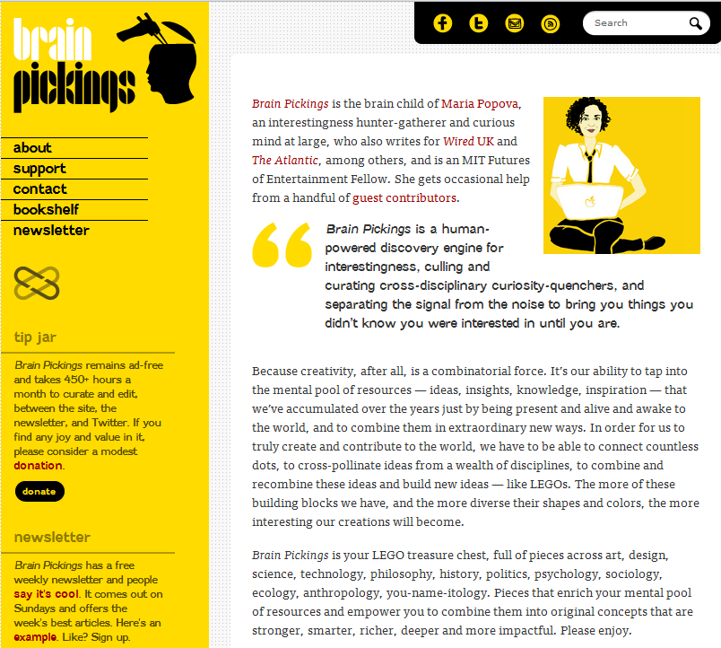 About page for Brainpickings