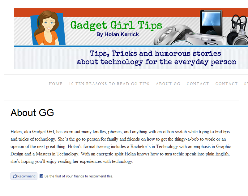 About page for Gadget Girl Tips