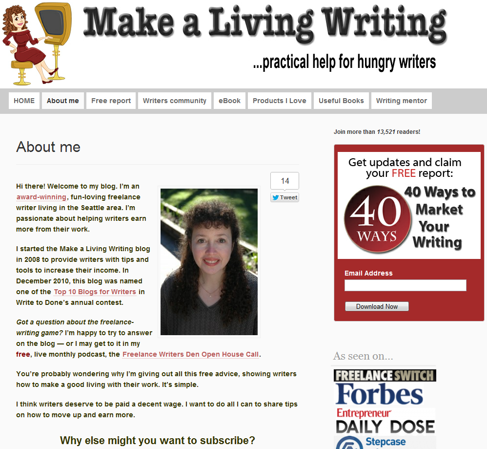 About page for Make a Living Writing