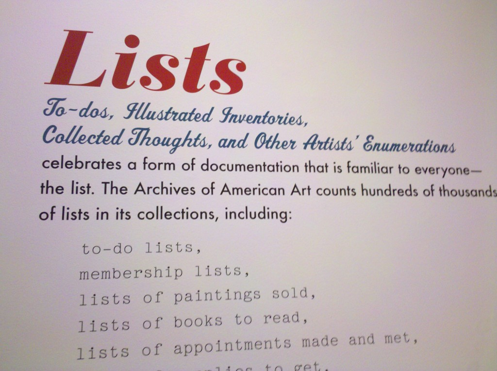 'Lists' exhibit, Smithsonian, Aug 2010
