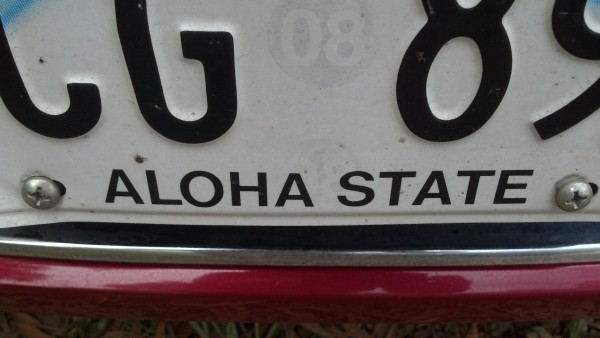 State of Hawaii license plate