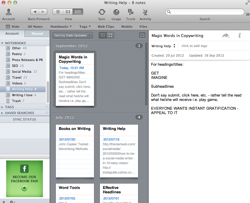 Evernote snippet view