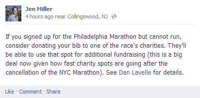 Jen Miller FB update on #sandy