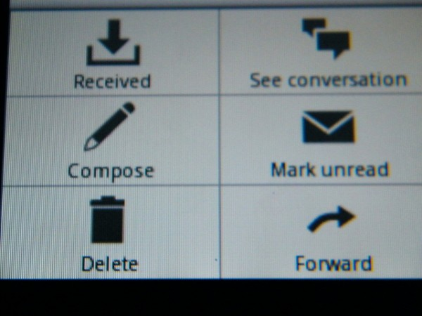 Email message screen
