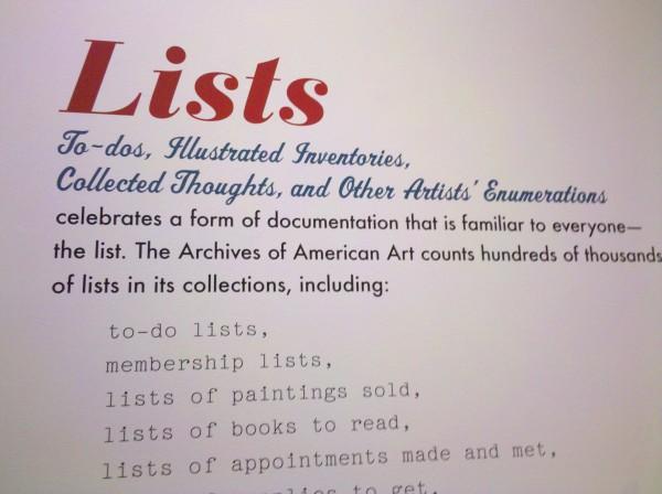 """Smithsonian """"Lists"""" exhibit, Aug 2010"""