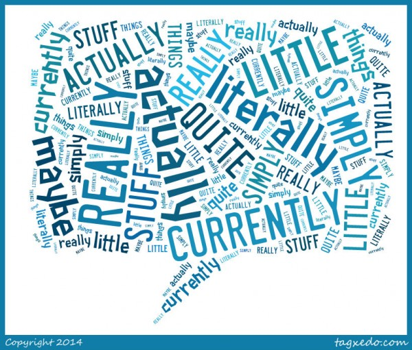 Word cloud of filler words